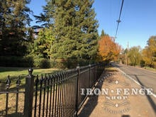 5ft Tall Signature Grade Classic Style Wrought Iron Fence Along the Road