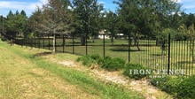 Traditional Grade 5ft Iron Fence in Classic Style Stepped to Follow Grade
