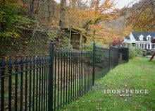 5ft Classic Wrought Iron Fence Stepped Down a Sloped Hill