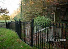 5ft Tall Wrought Iron Fence with 4ft Wide Gate for a Creek Bridge - Classic Style