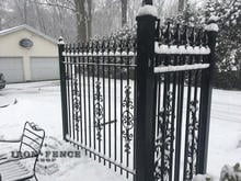 6ft Wrought Iron Fence with Add-on Scrollwork Pieces for an Ornate Look