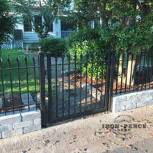 A 4ft Tall Iron Gate with our 3ft Tall Iron Fence in Classic Style