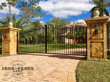 Wrought Iron Classic Style Driveway Gate Mounted to Masonry Columns (14ft Wide x 5ft to 6ft Arch Height)