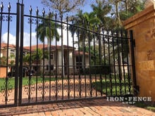 Iron Driveway Gate in Classic Style with Guardian and Butterfly Scroll Add-on Decorations (14ft x 5ft arching to 6ft)