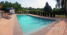 4ft (50in) Tall Wrought Iron Pool Style Fence Installed with Flange Posts (Traditional Grade)