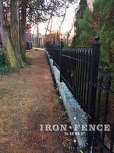 Iron Fence Installed on a Wall Top and Stair Stepped to Follow Grade (3ft Tall Signature Grade Iron Classic Style)