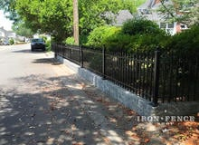 3ft Tall Classic Iron Fence on a Wall Top to Enclose a Yard from the Street