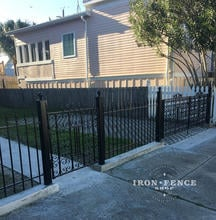 Our 3ft Classic Iron Fence Used with Restored Antique Iron Gates