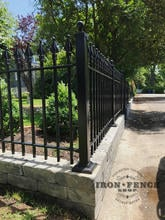 Our 3ft Tall Classic Wrought Iron Fence Combined with a Block Wall