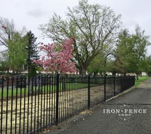 5ft Tall Iron Fence in Signature Grade Stair-Stepped to Follow Grade at a Historic Cemetery