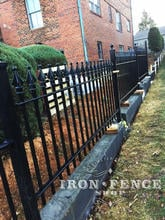Signature Grade Classic Style Iron Fence (3ft Tall) Installed on a Wall Top Stair-Step Style for Grade