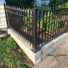 3ft Wrought Iron Fence Installed on Top of a Masonry Block Knee Wall